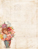 Grungy Vintage style background with flower fairy Stock Image