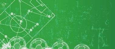 Grungy Voetbal/Voetbalontwerpmalplaatje vector illustratie