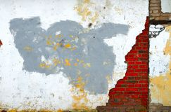 Grungy wall. With the cracks stock image