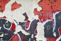 Grungy wall background texture with graffiti fragments Royalty Free Stock Photos