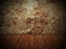 Grungy wall and wooden floor, dark room background. Damaged old brick wall and weathered wooden floor, rustical vintage room design with dark edges Stock Image