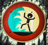 Screaming person flashflood tsunami warning sign Royalty Free Stock Image