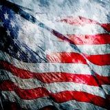 Grungy Weinlese der amerikanischen Flagge gemasert Stockfoto