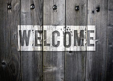 Grungy Welcome sign Stock Photo