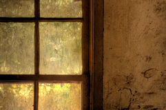 Grungy Window. A rustic cave house window, grungy and dirty Stock Photo