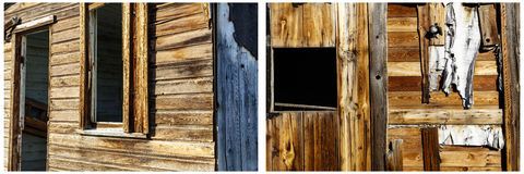 Grungy windows weathered wood texture collage. Pattern and texture background of rotten wooden lap siding board and missing windows doors on retro old historic Stock Images