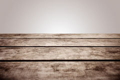 Grungy wooden deck table on white background Stock Photography