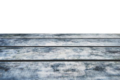 Grungy wooden deck table on white background Royalty Free Stock Images