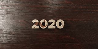 2020 - grungy wooden headline on Maple  - 3D rendered royalty free stock image. This image can be used for an online website banner ad or a print postcard Royalty Free Stock Image