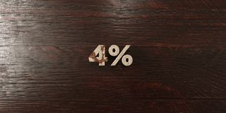 4% - grungy wooden headline on Maple  - 3D rendered royalty free stock image Royalty Free Stock Images
