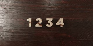 1 2 3 4 - grungy wooden headline on Maple  - 3D rendered royalty free stock image Stock Photos