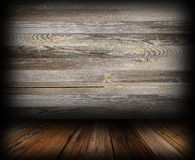 Grungy wooden indoor backdrop Royalty Free Stock Photography