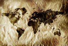 Grungy world map Royalty Free Stock Photos