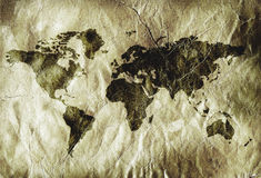 Grungy world map Stock Photo