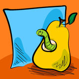 Grungy worm cartoon inside a pear with sticky note. Fun grungy cartoon of friendly worm inside a pear in front of blue paper or sticky note for your text Stock Photography