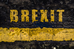 Grungy Yellow Brexit Road Markings Royalty Free Stock Photo
