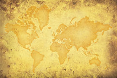 Grungy yellow map of the world Royalty Free Stock Photography