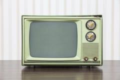 Grungy Zielona rocznik telewizja Obraz Stock