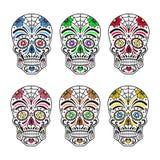 Grunt djup av fältet Färgrika tatueringar Mexicansk dag av dödaen också vektor för coreldrawillustration stock illustrationer
