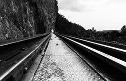 grunt spår för djupfältjärnväg Fotografering för Bildbyråer