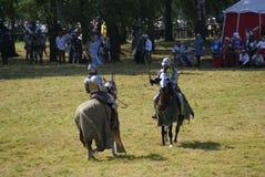 Grunwald, Польша - 2009-07-18: Установленные рыцари стоковые фото