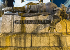 Grunwald monument at night. Plac Matejki, Krakow, Poland Royalty Free Stock Images
