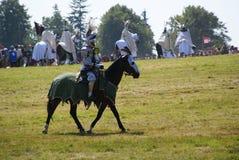 Grunwald, Polônia - 2009-07-18: Cavaleiro montado fotografia de stock royalty free