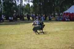 Grunwald, Polen - 2009-07-18: Opgezette ridders stock foto