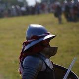 Grunwald, Polen - 2009-07-18: Wit-rode ridder stock foto