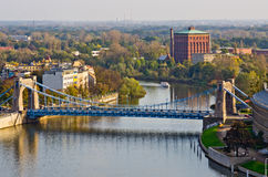 Grunwaldzki bridge from Cathedral tower, Wroclaw, Poland Royalty Free Stock Images