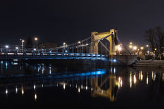 Grunwaldzki Bridge  Wroclaw. Grunwaldzki bridge at night on the river Odra. Wroclaw - Poland - Lower Silesia Royalty Free Stock Photography