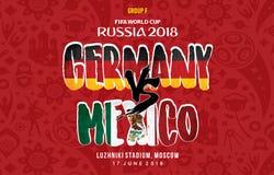Grup f Tyskland vs Mexiko Ryssland 2018 stock illustrationer