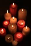 grup płonące świeczki Obrazy Stock