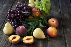 Grupa świeże owoc na drewnianym tle Obrazy Royalty Free