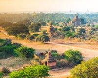 Grupa antyczne pagody w Bagan, Myanmar Zdjęcia Stock
