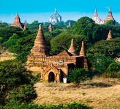Grupa antyczne pagody w Bagan, Myanmar Zdjęcie Stock