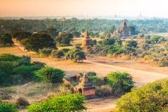 Grupa antyczne pagody w Bagan, Myanmar Fotografia Royalty Free