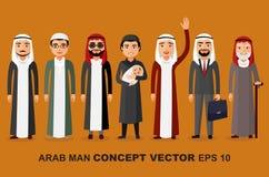 Grupa arabska mężczyzna rodzina Sceny rozwojów ludzie - niemowlęctwo, dzieciństwo, młodość, wytrawność, starość wektor royalty ilustracja