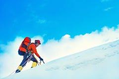 Grupa arywiści dosięga szczyt halny szczyt Sukces, Fotografia Stock