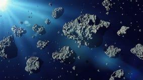 Grupa asteroidy zaświecać słońcem, gwiaździstego paska przestrzeni sceny 3d rendering ilustracji