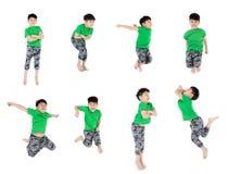 Grupa Azjatycki śliczny dziecko skacze obrazy royalty free