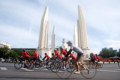 Grupa bicykle w samochodu Bezpłatnym dniu, Bangkok, Tajlandia Obraz Stock