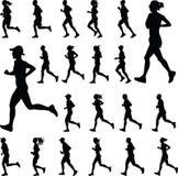 Grupa biegacz sylwetki wektor Obraz Stock