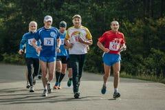 Grupa biegacze biega w dół drogę w parku Zdjęcie Stock