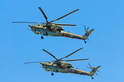 Grupa bojowi helikoptery Berkuty Rosja, Petersburg, Czerwiec 2017 Fotografia Stock