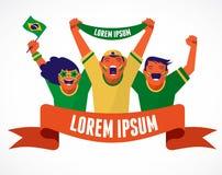 Grupa Brazylijscy piłek nożnych fan Zdjęcia Stock