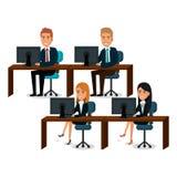 Grupa businespeople praca zespołowa w miejscu pracy ilustracji
