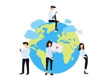 Grupa chłopiec i dziewczyny wokoło kuli ziemskiej mieszkania plakata ilustracji