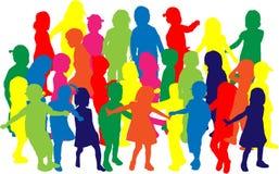 Grupa children sylwetki ilustracji