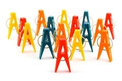 grupa clothespins Zdjęcie Royalty Free